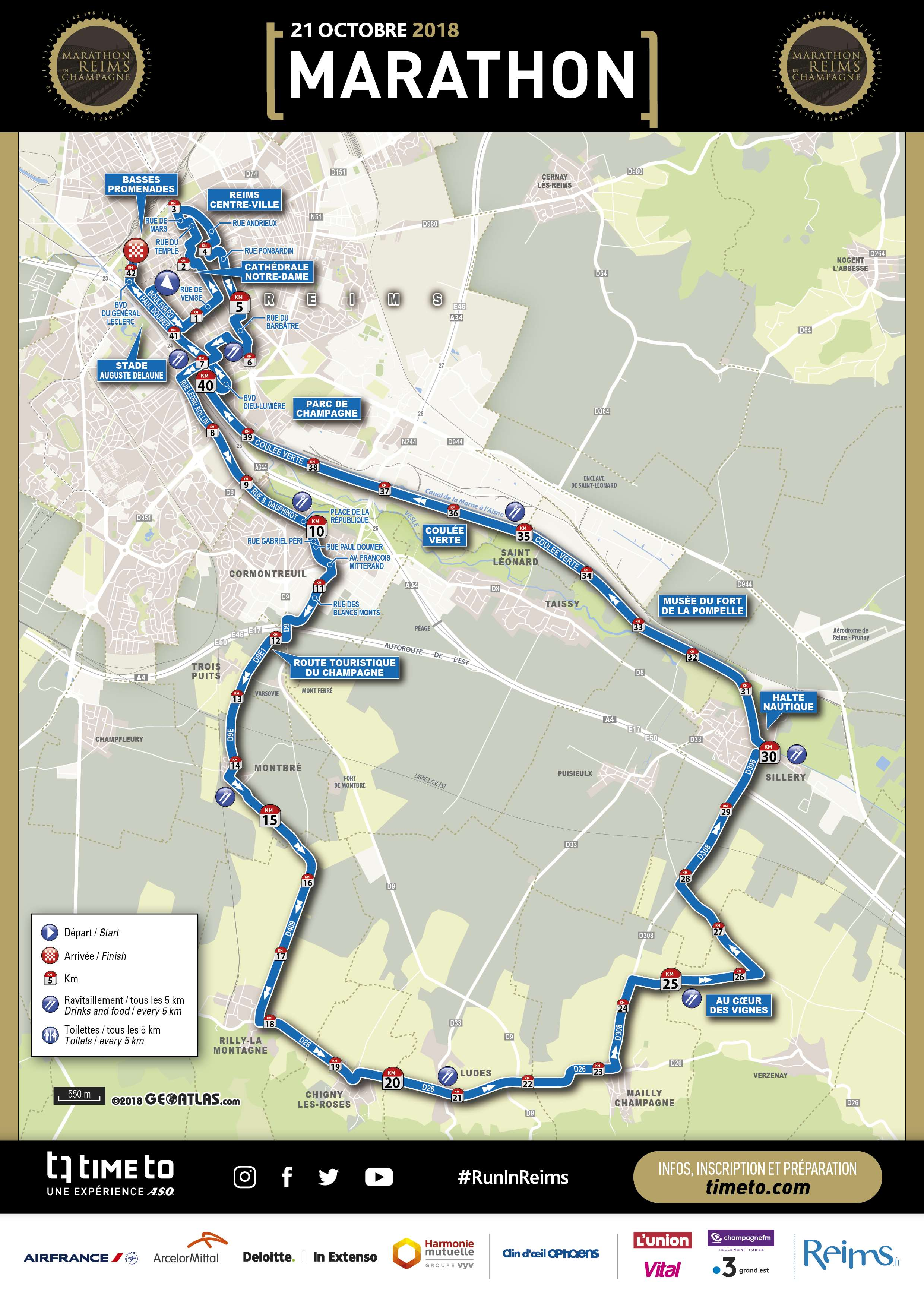 Map - Run In Reims Marathon