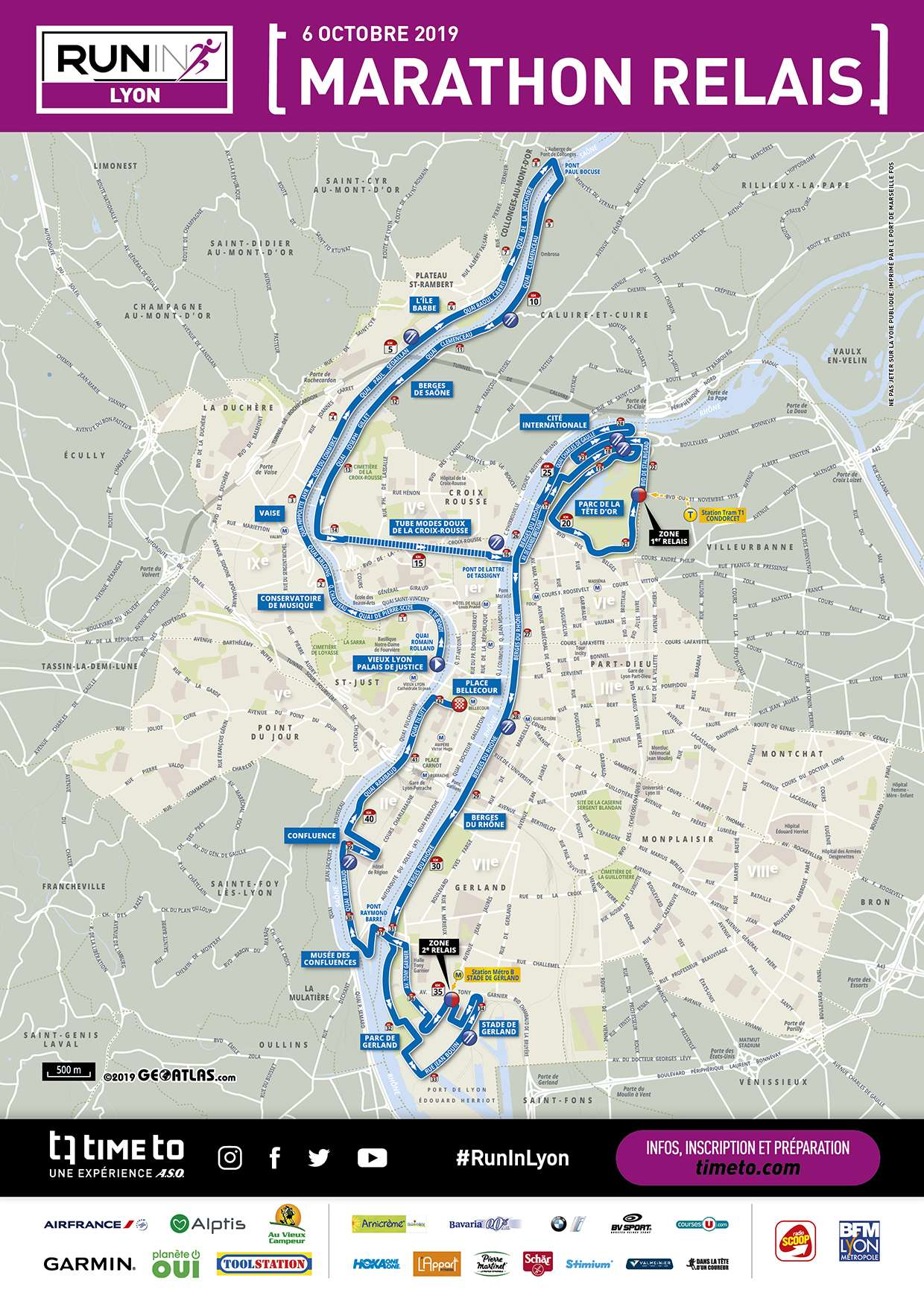 Map - Run In Lyon Marathon Relais